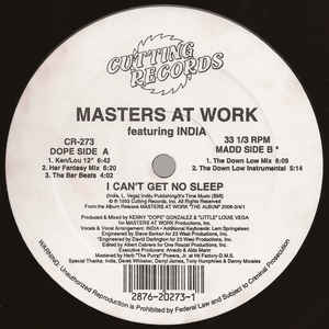 Masters At Work - I Can't Get No Sleep - Album Cover