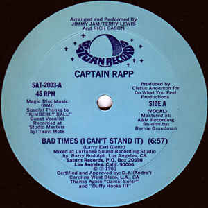 Captain Rapp - Bad Times (I Can't Stand It) - Album Cover