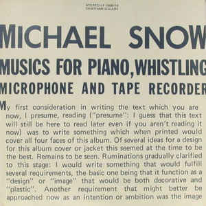 Musics For Piano, Whistling, Microphone And Tape Recorder - Album Cover - VinylWorld