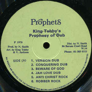 Yabby You - King Tubby's Prophesy Of Dub - Album Cover